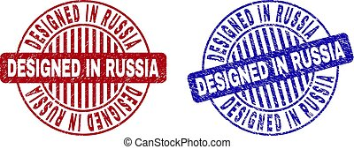 Grunge DESIGNED IN RUSSIA Scratched Round Stamp Seals