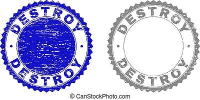 Grunge DESTROY Scratched Stamp Seals