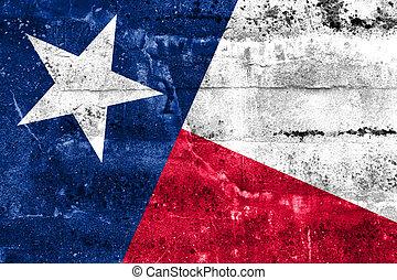 grunge, dipinto, stato, parete, bandiera, texas