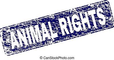 grunge, diritti, francobollo, incorniciato, animale, arrotondato, rettangolo