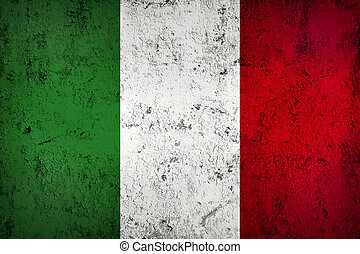 Grunge Dirty and Weathered Italian Flag, Old Metal Textured