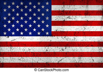 Grunge Dirty and Weathered USA (American) Flag, Old Metal Textured