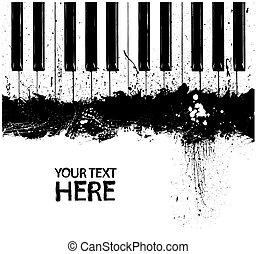 Grunge dirty piano keys - Grunge black and white piano keys...