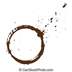 Coffee Stain - Grunge Dirty Splash Coffee Stain Vector...