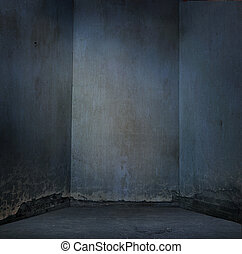Grunge dirty wall in blue light