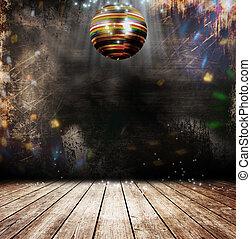Grunge disco ball - Disco ball in a old room