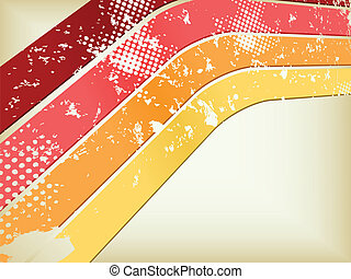 grunge, disco, rood, sinaasappel, en, gele achtergrond, in, perspectief