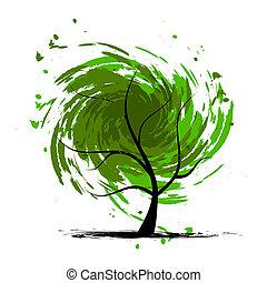 grunge, diseño, árbol, su