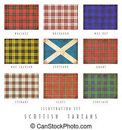 grunge, diseño, tartanes, escocés