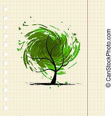 grunge, disegno, albero, tuo