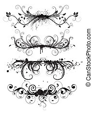 grunge, disegno, elementi floreali