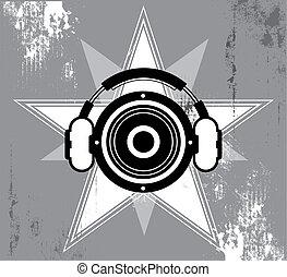 grunge, disegno, musica, stella
