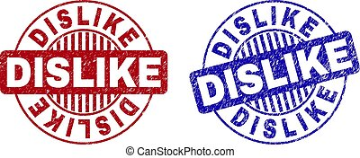 Grunge DISLIKE round stamp seals isolated on a white background. Round seals with grunge texture in red and blue colors. Vector rubber imitation of DISLIKE tag inside circle form with stripes.