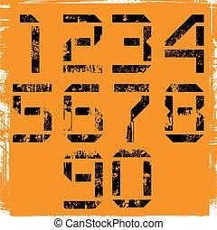 grunge display numbers on orange