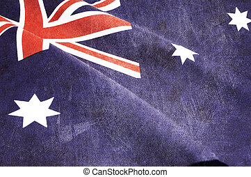Grunge distressed aged old Australian flag for Anzac Day,...