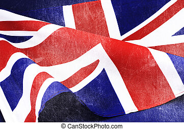 Grunge distressed aged old Union Jack British flag for D-Day...