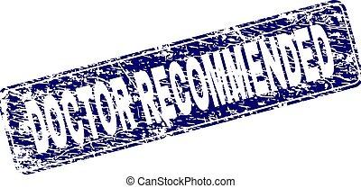Grunge DOCTOR RECOMMENDED Framed Rounded Rectangle Stamp
