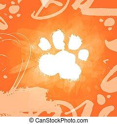 Grunge Dog Food Print Over Orange Background Zodiac Symbol Of 2018 New Year