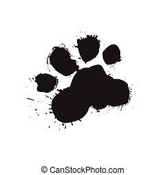 Grunge Dog Foot Print Black Paw Isolated On White Background