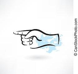 grunge, doigt indique, icône