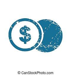 Grunge dollar coin icon