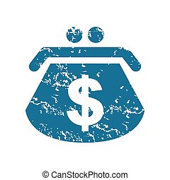 Grunge dollar purse icon