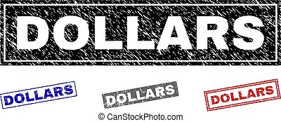 Grunge DOLLARS Scratched Rectangle Stamps