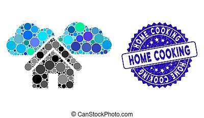 grunge, dom, collage, ikona, gotowanie, tłoczyć