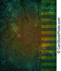grunge, donker, ontwerp, vieze , achtergrond, groene