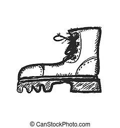 grunge, doodle, botas, ilustração, vetorial, ícone