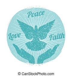 Grunge dove peace flying from hands. Love, freedom and religion faith vector