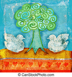 grunge illustration of doves with bright festive colors