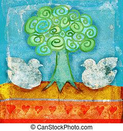 grunge doves scene - grunge illustration of doves with ...
