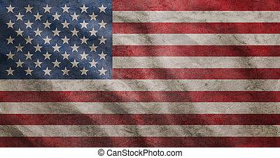 grunge, drapeau, accidenté, usa