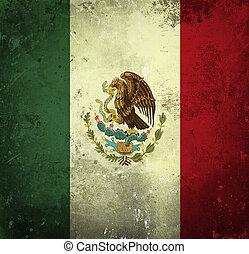 grunge, drapeau, de, mexique