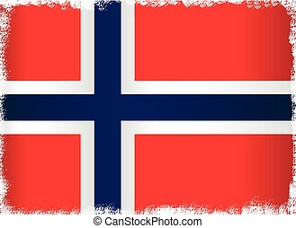 grunge, drapeau, de, norvège