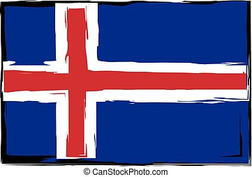 grunge, drapeau islande, bannière, ou