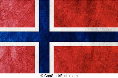 grunge, drapeau, norvège