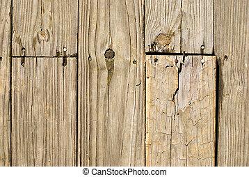 grunge, drewniana podłoga, z, stary, paznokcie