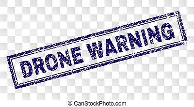 Grunge DRONE WARNING Rectangle Stamp