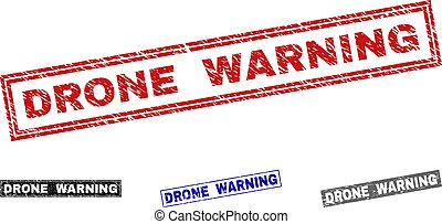 Grunge DRONE WARNING Scratched Rectangle Stamp Seals
