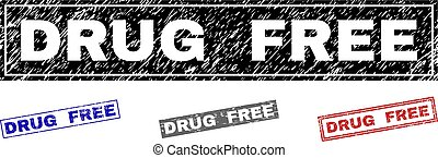 Grunge DRUG FREE Scratched Rectangle Watermarks