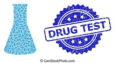 Grunge Drug Test Seal Stamp and Recursive Chemical Retort ...