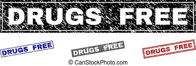 Grunge DRUGS FREE Textured Rectangle Stamps