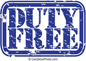 Grunge duty free rubber stamp, vect