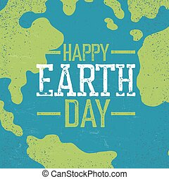 """Grunge Earth Day Logo. Stamp letters.  """"Earth day"""". Earth day celebration design template with Earth background. Planet Earth closeup view."""