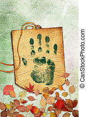 Grunge Eco label with Green handprint