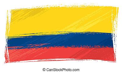 Ecuador national flag created in grunge style