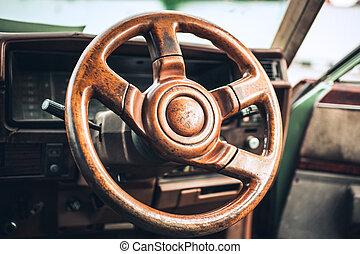 grunge effect classic car steering wheel