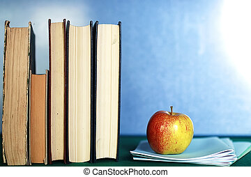 grunge effect photo education book stack apple